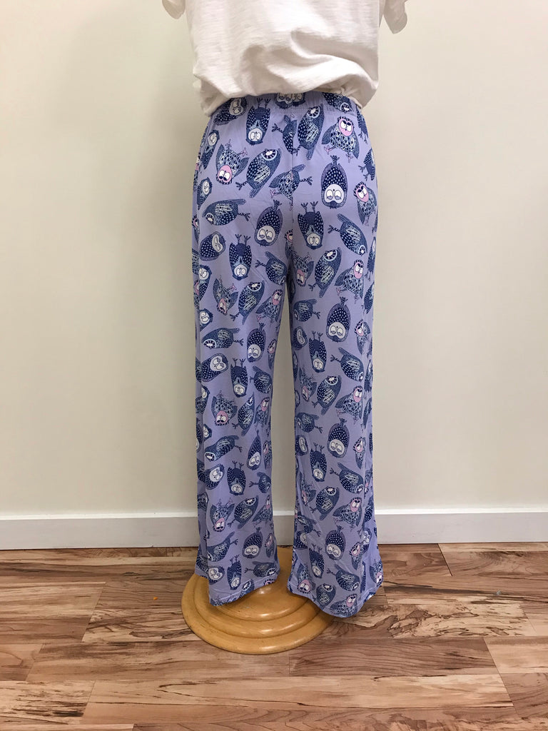 Amanda Blu Pajama Pants Lavender with Purple and Pink Owls Elastic waistband