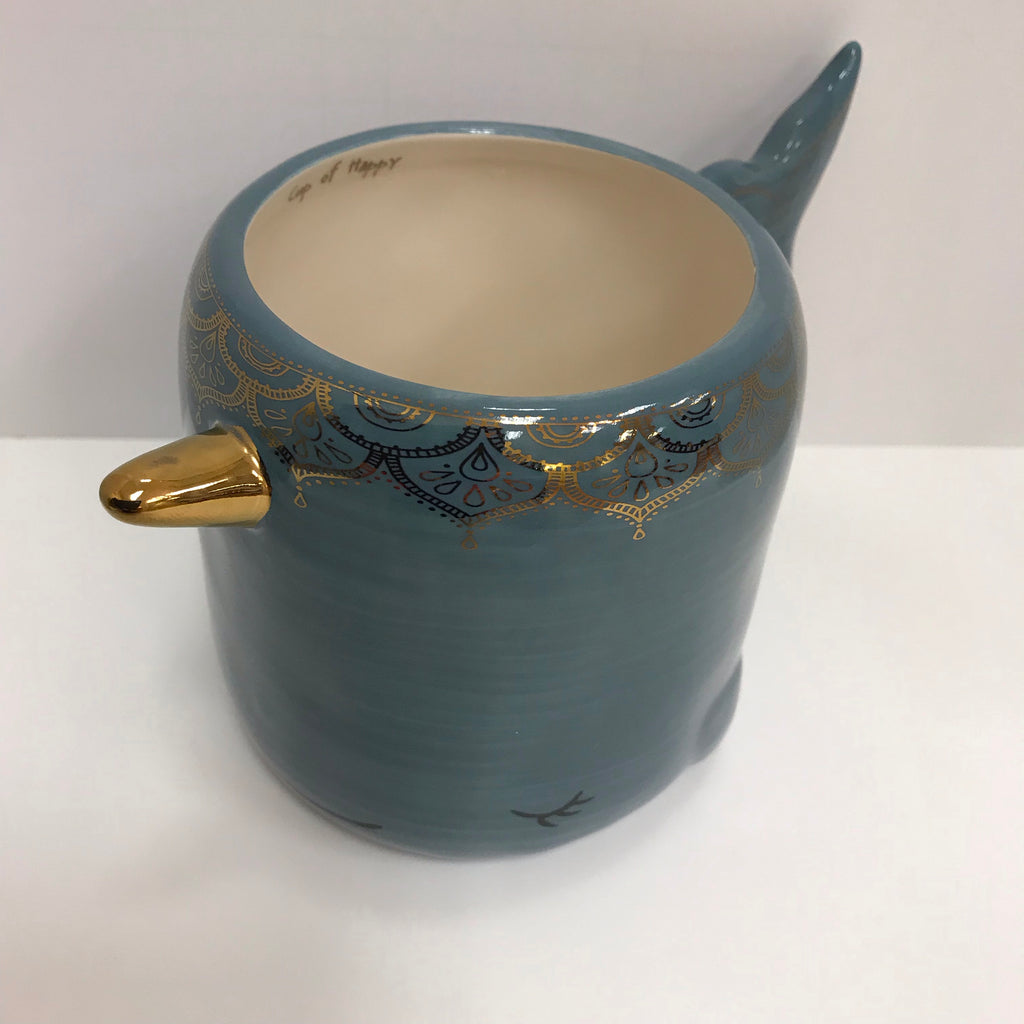 "Natural Life Mug - Whale Sea Blue Color ""Cup of Happy"" Mug330"