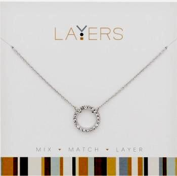 Center Court Layers Necklace Silver Crystal Circle LAY509S