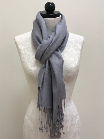 Pashmina Scarf - Grey Light Silver Solid Pattern Scarf Shawl