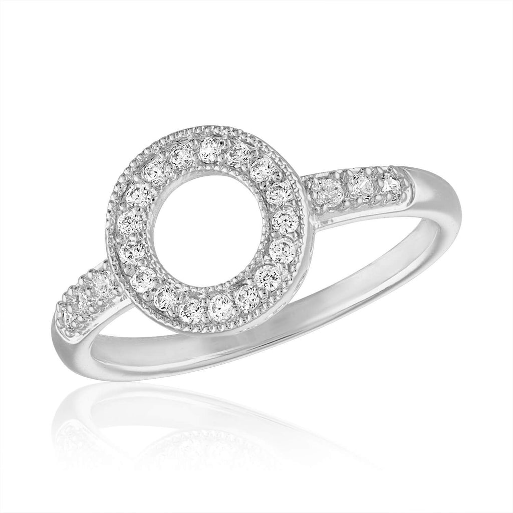 DaVinci Stackable Ring Silver Open Circle Crystals STK41