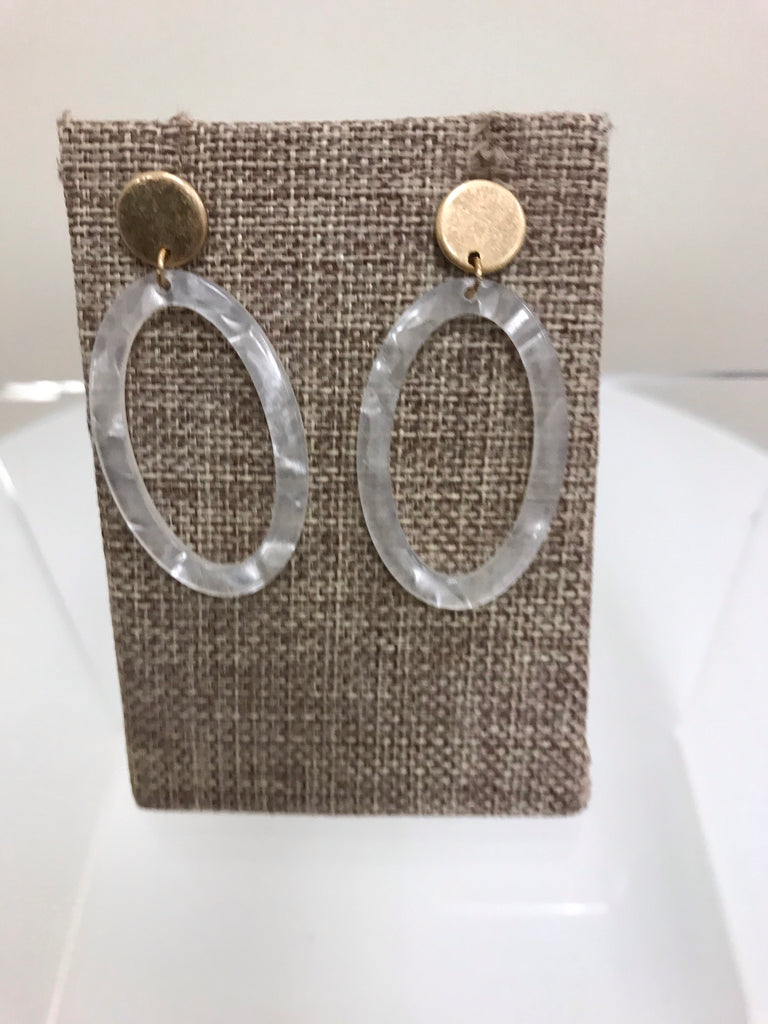 Its Sense Earrings Gold Posts White Acrylic Ovals