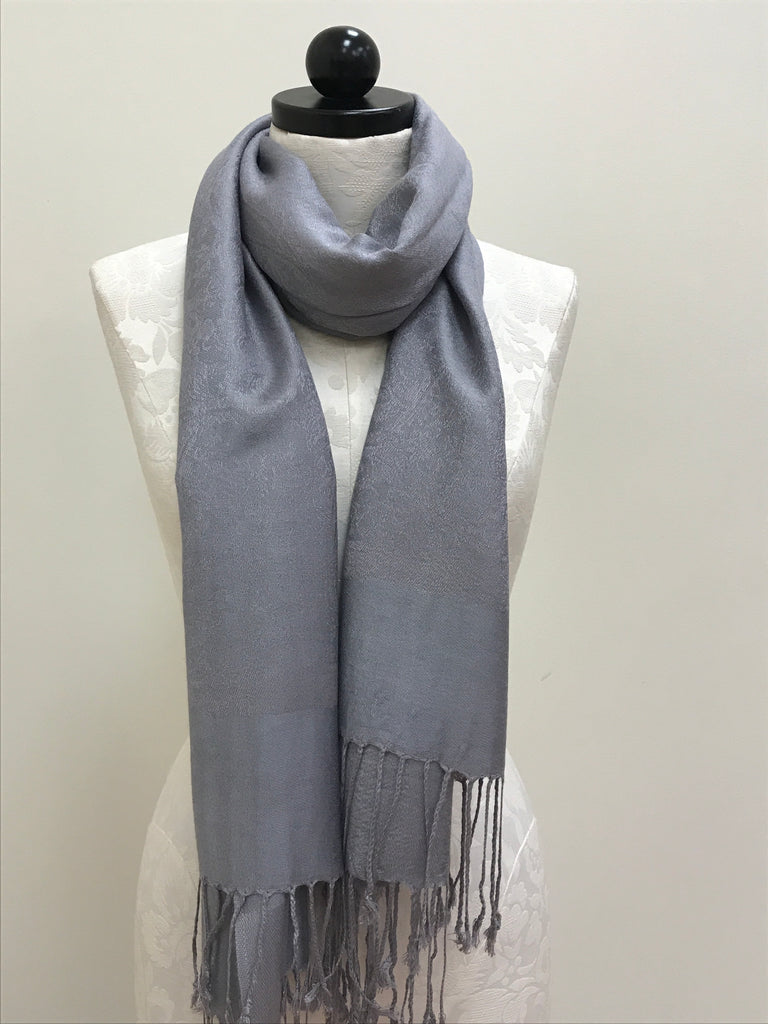 Pashmina Scarf Shawl - Grey Silver Pattern - Accessories Boutique