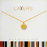 "Center Court Layers Necklace Gold Initial ""M""  LAYMG"