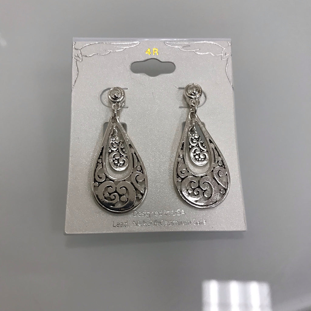Earrings Silver Clip Double Open Teardrop EM8852ATS