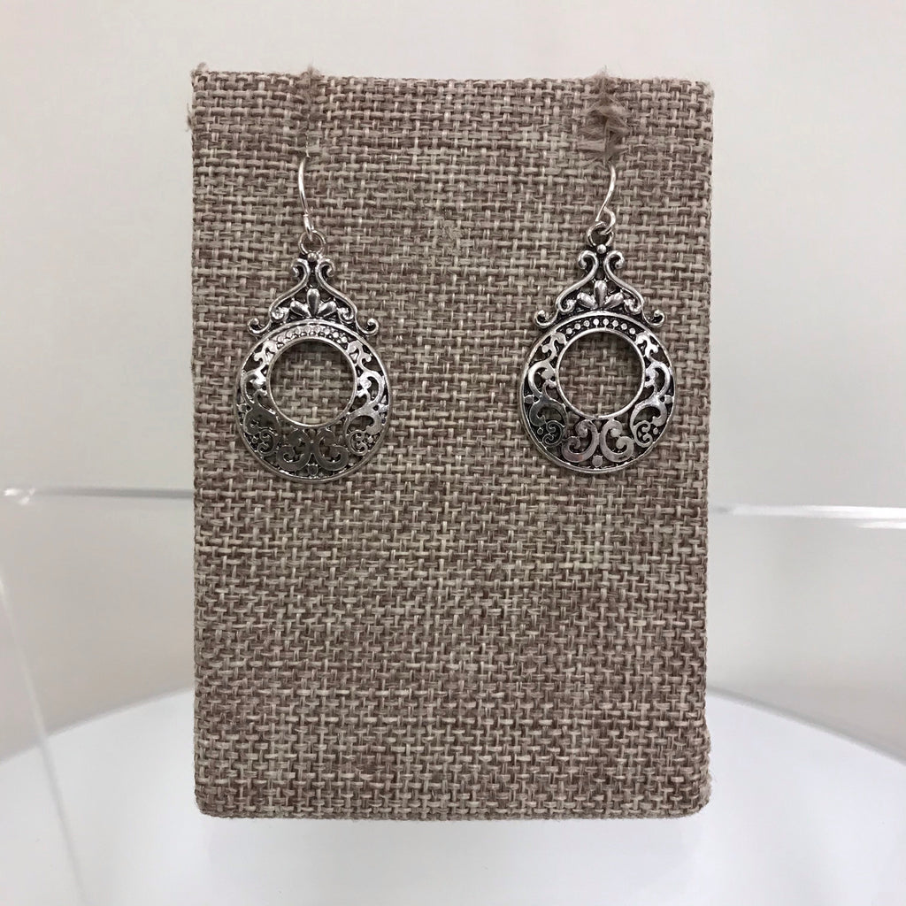 Earrings Silver Black Pattern Circle w/Top Filagree Fishhook E3121ATS