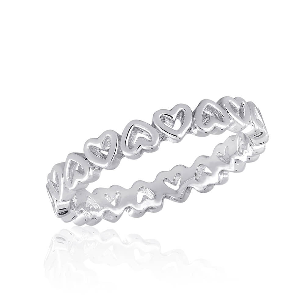 DaVinci Stackable Silver Ring Open Hearts  STK27