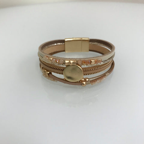 Bracelets - Leather Tan Gold Pearl Twisted Magnetic Bracelet SB4086Beige
