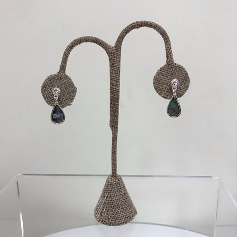Its Sense Earrings Silver Thin Beaded Tear Drop E8151-RD