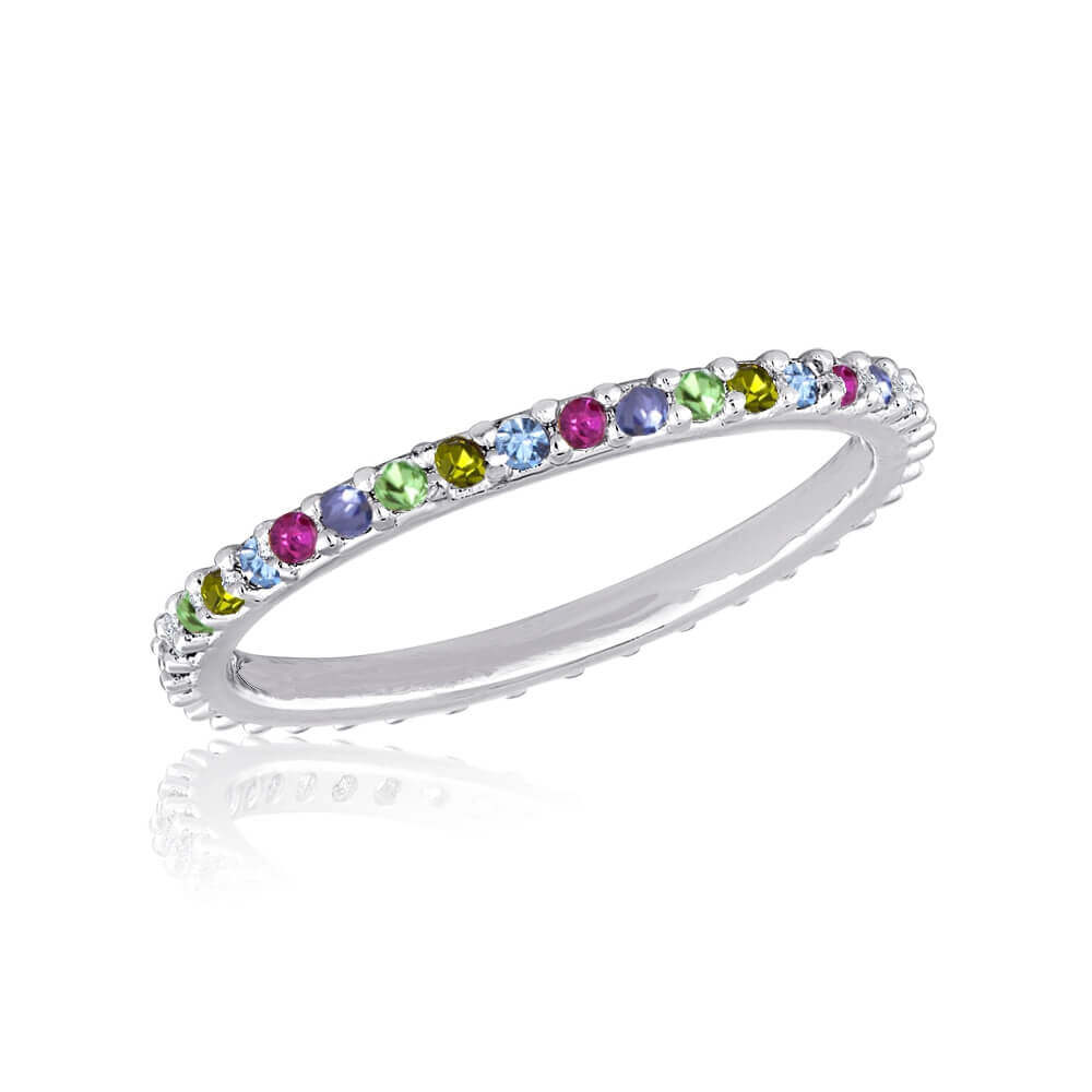 DaVinci Ring - Stackable Multi Colored Crystal Silver Ring STK47
