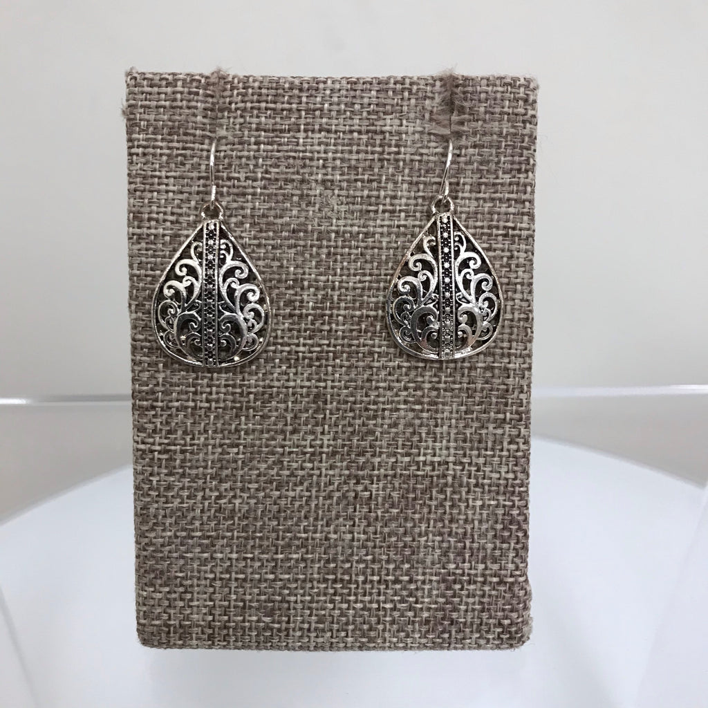 Earrings Silver Black Filagree Teardrop Fishhook E3096ATS