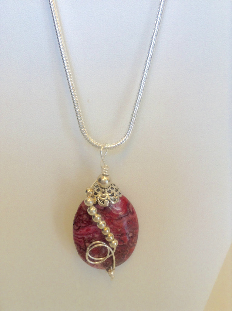 Sterling Wire Wrapped Pendant - Oval Fuchsia Crazy Lace Agate Stone