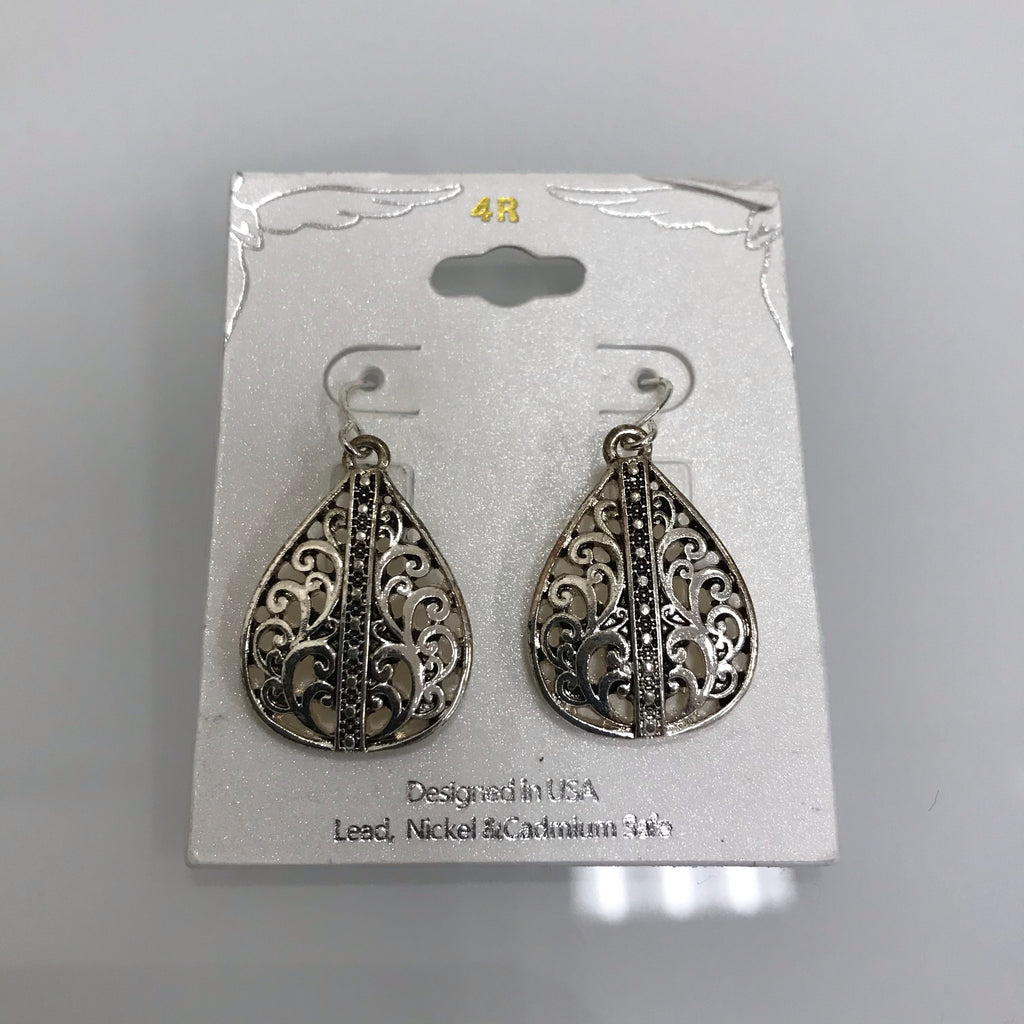 Earrings Silver Open Filagree Teardrop  Fishhook E3096ATS