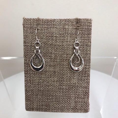 Earrings Silver Long Hammered Teardrop Patterned Fishhook EM8776SIL