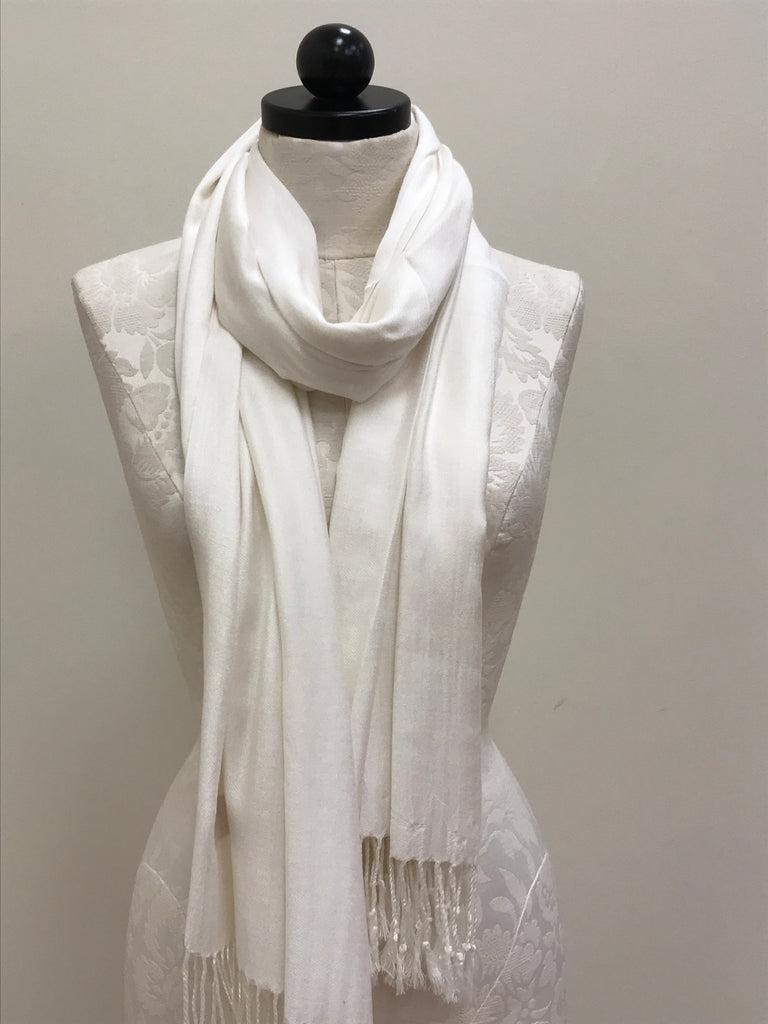 Pashmina Scarf Shawl - Cream With Sheen - Accessories Boutique