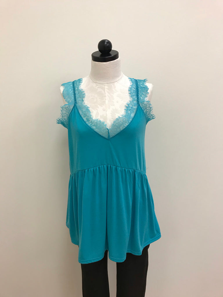 Hailey & Co. Top Teal Spaghetti Strap with Lace Trim