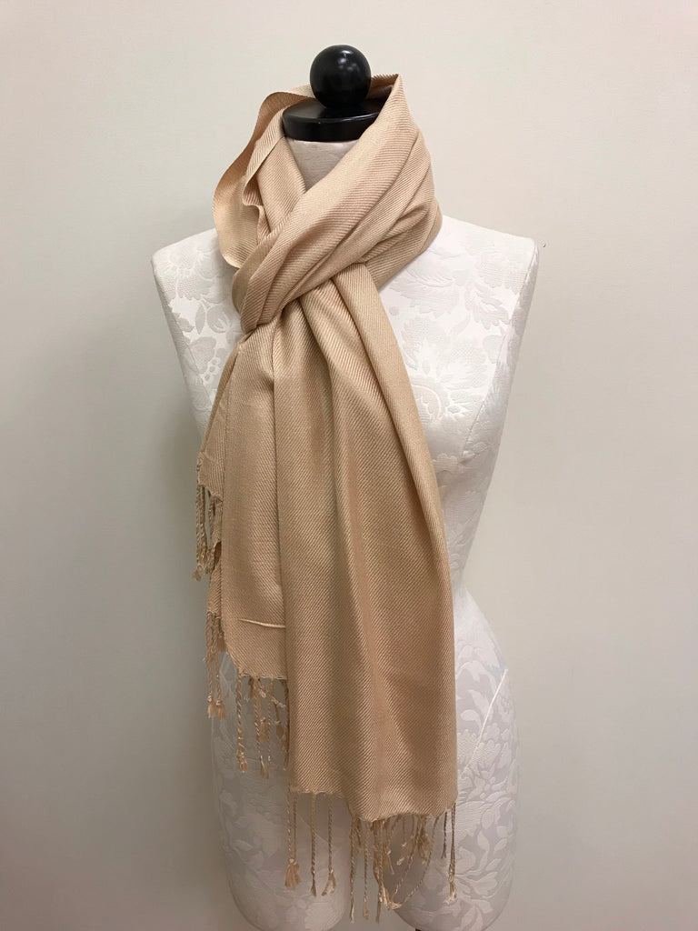 Pashmina Scarf - Gold Light Solid Pattern Scarf Shawl