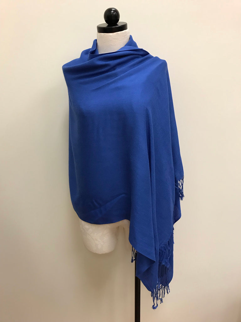 Pashmina Scarf - Blue Royal Solid Scarf Shawl