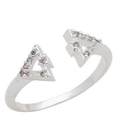 DaVinci RIng Stackable Crystal Triangle Shap SIlver STK35