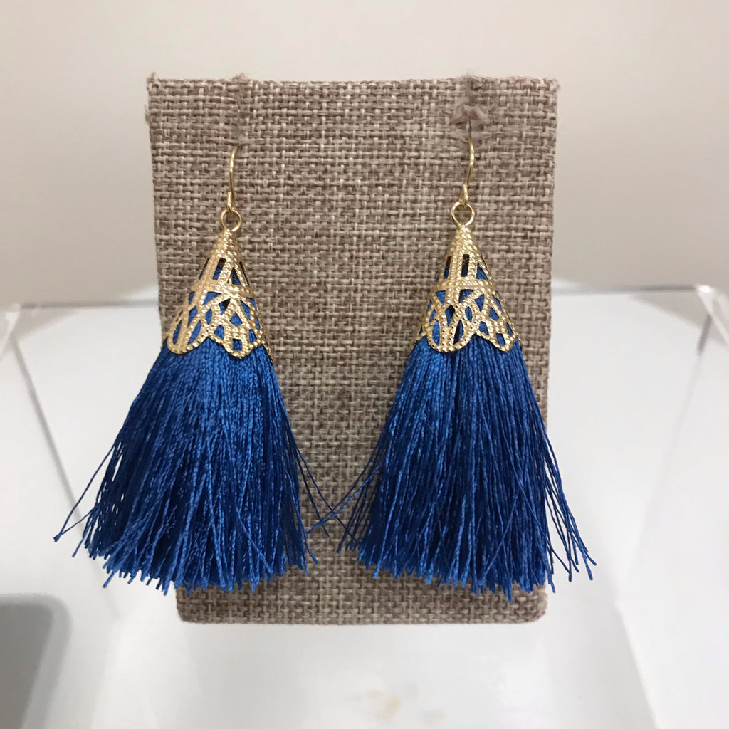 Redwood Earrings Gold Blue Tassel Fishhook LE1025GD/SAP
