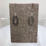 Earrings Silver Black Flattened Oval Crystal  Fishhook  EFASCA3162