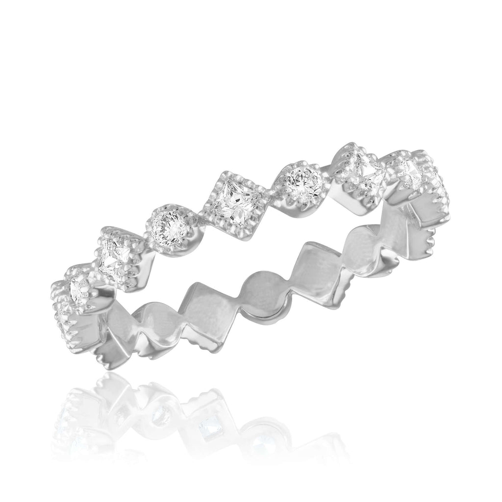 DaVinci Ring - Stackable Diamond CZ Infinity Silver Stack Ring STK51