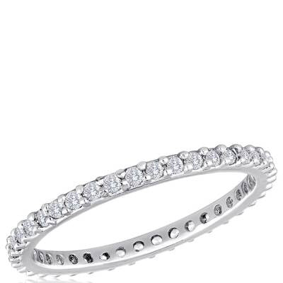 Davinci Stackable Rings - Clear Crystal Band Silver Ring - Accessories Boutique
