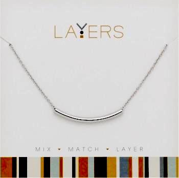 Center Court Layers Necklace Silver Curved Bar LAY 517S