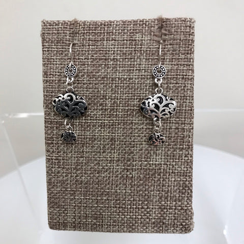 Its Sense Earrings Silver Clover Patterned Fishhook E8259RD-MS