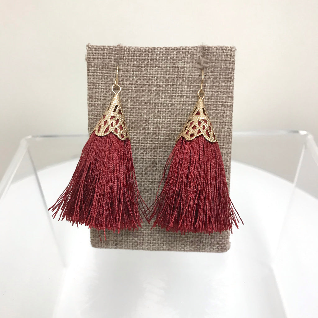 Redwood Earrings Gold Red Tassel Fishhook LE1025GD/RED