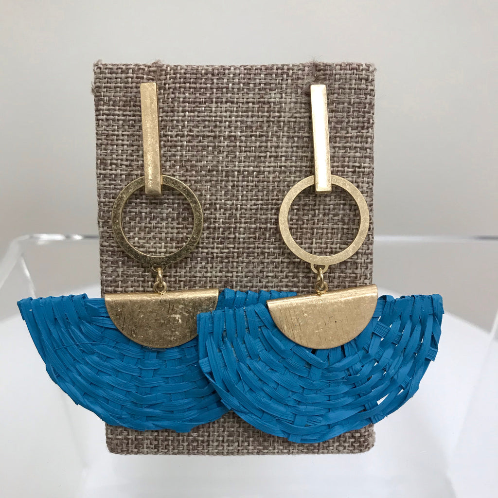 Redwood Earrings Gold Bar Turquoise Wicker Fan Shape Post LE1111GD/TQS
