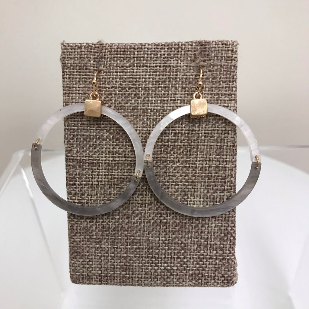 Its Sense Earrings Gold Cream and Grey Hoops Fishhook