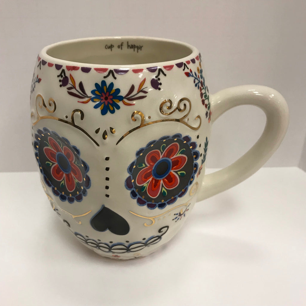 "Natural Life Mug - Sugar Skull Mug Blue Red Gold ""Cup of Happy"" Mug324"