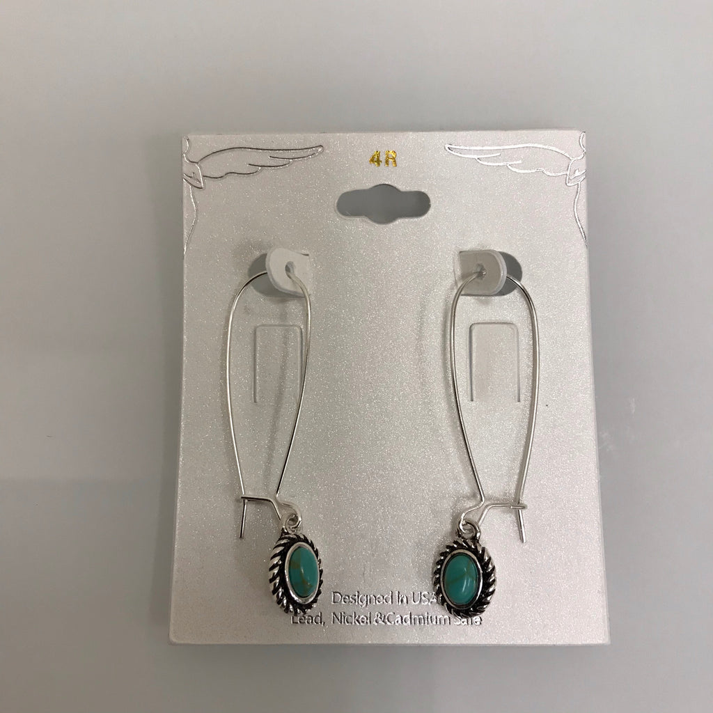 Earrings Silver Fishhook Drop w/Turquoise Drop E8056 on Card