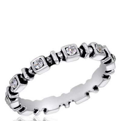 DaVinci Ring - Stackable Round Pearl with Detailed Band Silver STK9
