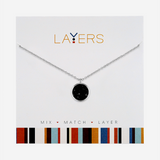 Center Court Layers Necklace Silver Circle Black Druzy LAY567S