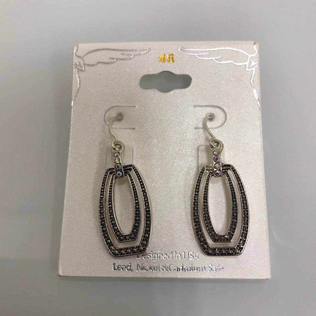 Earrings Silver Black Flattened Oval Crystal  Fishhook  EFASCA3162 on card
