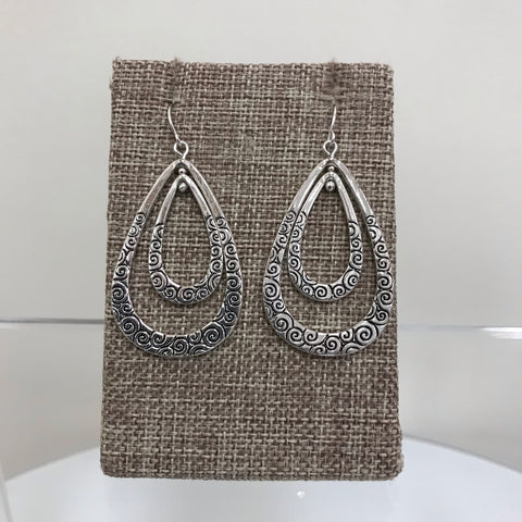Earrings Silver Black Pattern Circle Filagree Fishhook E3121ATS
