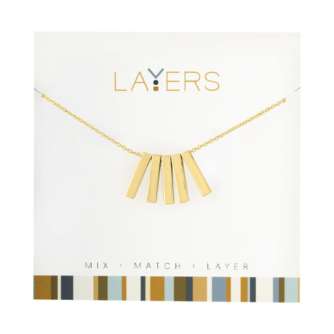"Center Court Layers Necklace Gold Initial ""E"" LAYEG"