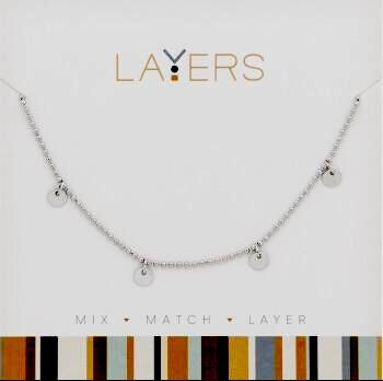 Center Court Layers Necklace Silver Crystal Cross LAY515S