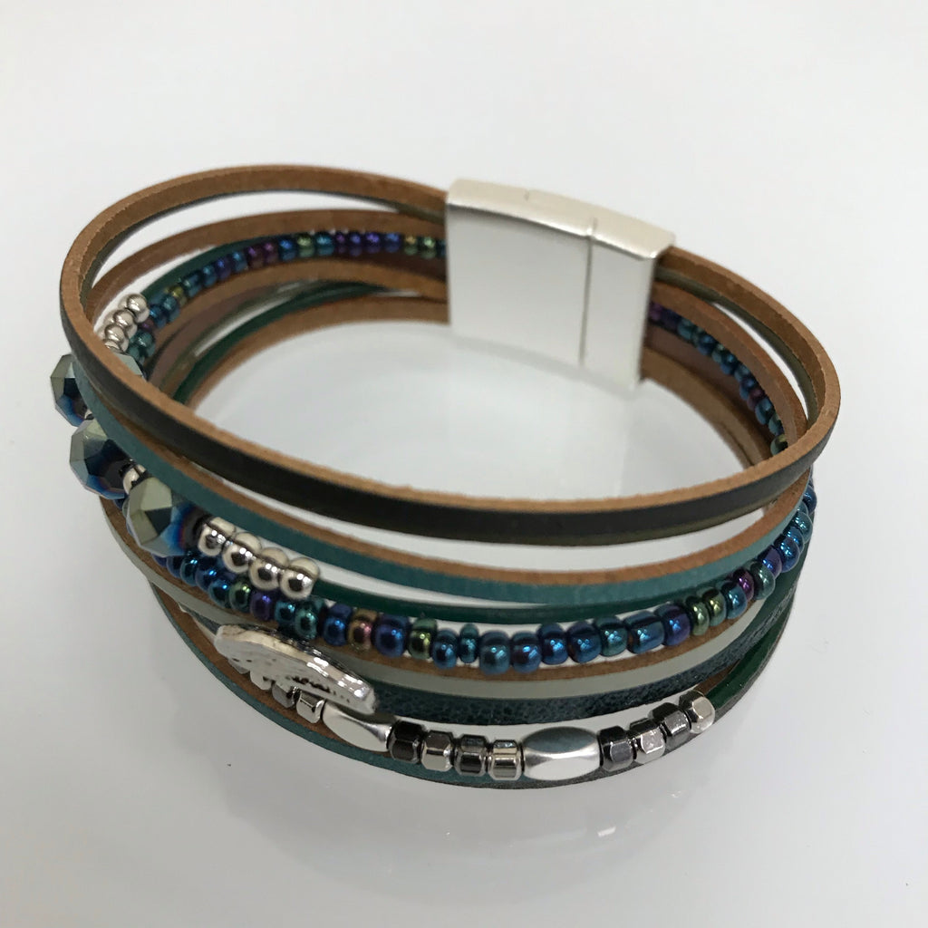 Bracelets - Leather Teal, Tan, Silver Embellished Magnetic Bracelet FR18203MT