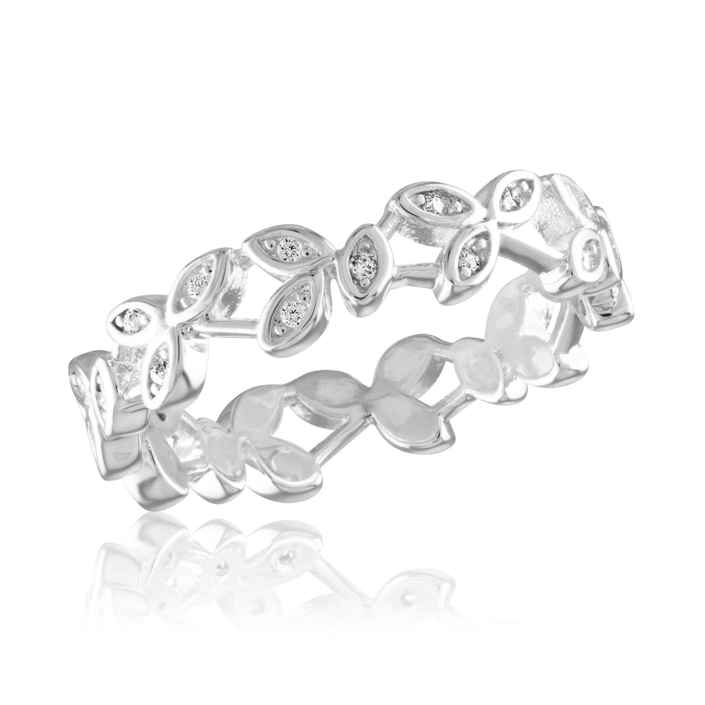 Davinci Ring - Stackable Diamond Vine Infinity Silver Stack Ring STK50