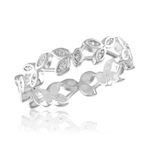 DaVinci Ring Stackable Multi Colored Crystal Silver Ring STK47