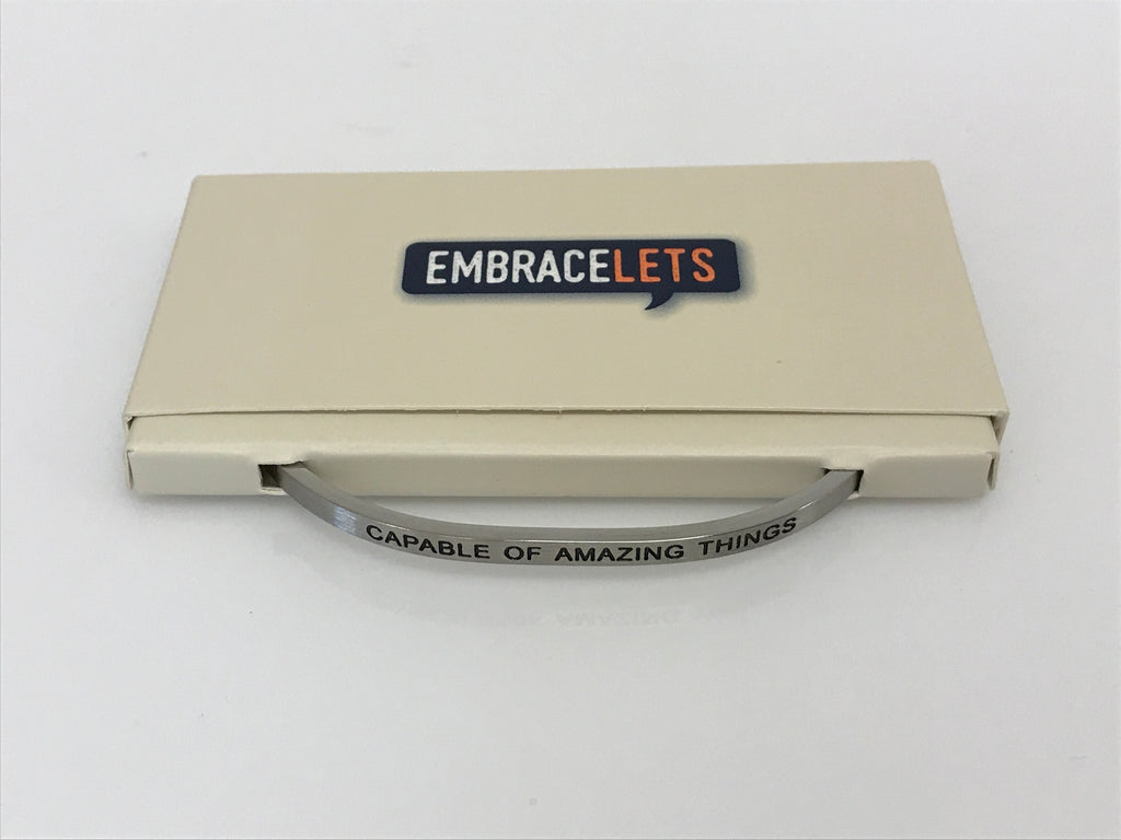 "Embracelets - ""Capable of Amazing Things"" Silver Stainless Steel, Stackable, Layered Bracelet - Accessories Boutique"