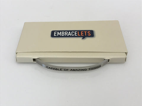"Embracelets - ""Thankful"" Silver Stainless Stackable Layered Bracelet"