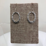 Earrings Silver Black Pattern Oval Fishhook  E8152ATS