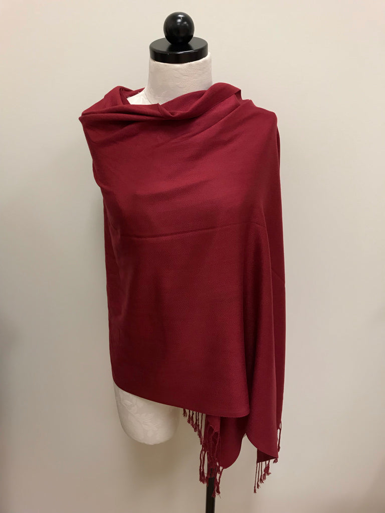 Pashmina Scarf - Burgundy Red Solid Scarf Shawl