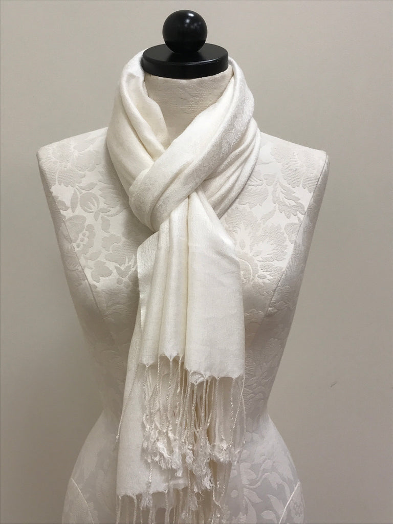 Pashmina Scarf Shawl - Cream with Pattern - Accessories Boutique