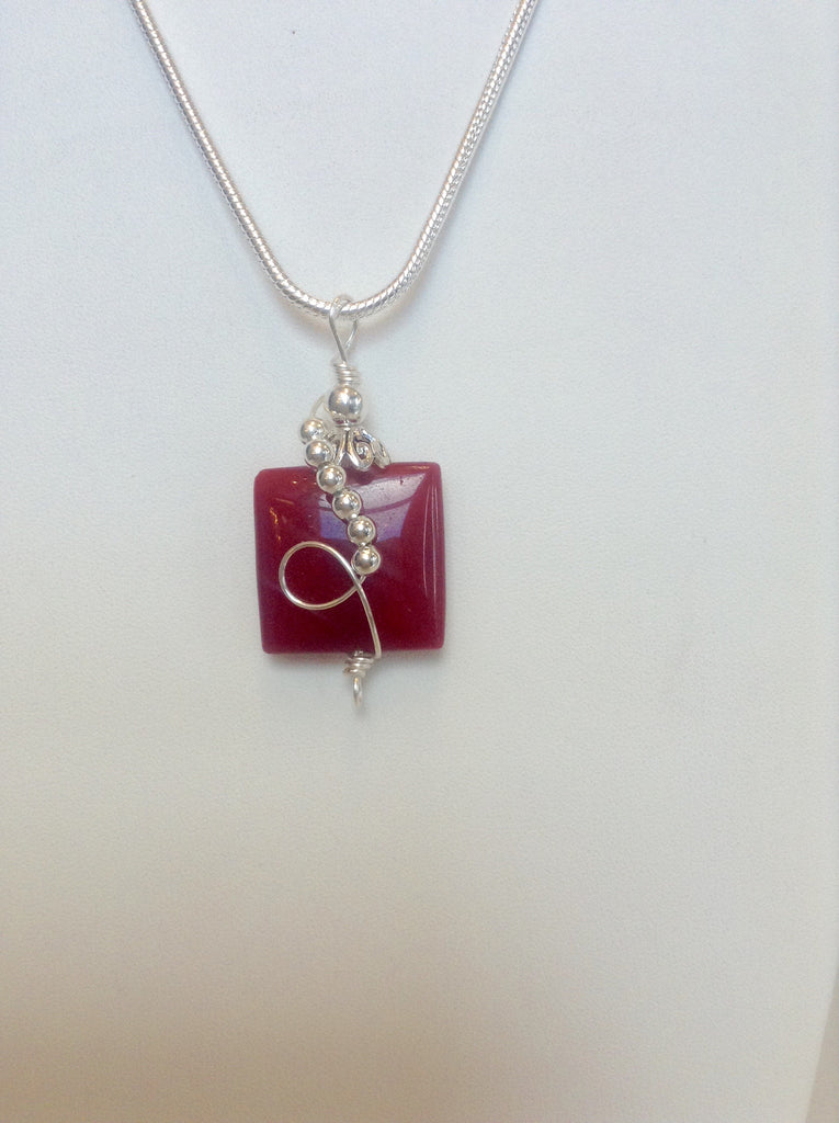 Sterling Wire Wrapped Pendant - Square Red Jade Stone – Accessories ...