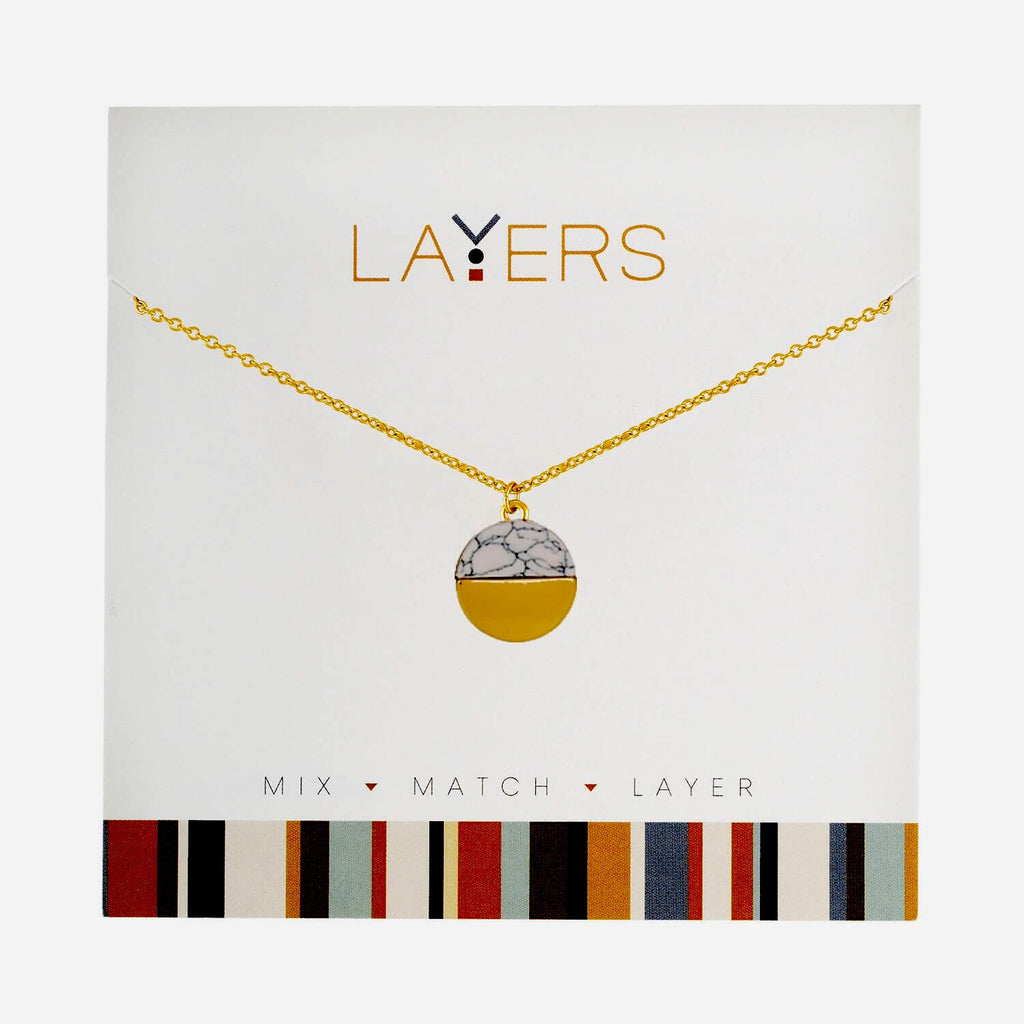 Center Court Layers Necklace Gold Circle with Marble Accent LAY91G